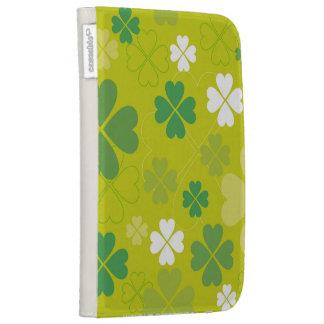 Bright Green Shamrock Design Kindle 3 Cases