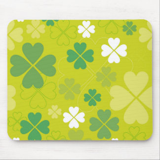 Bright Green Shamrock Design Mouse Pad