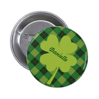 Bright Green Shamrock Personalized Pin