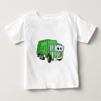 Bright Green Smiling Garbage Truck Cartoon Baby T-Shirt