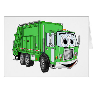 Bright Green Smiling Garbage Truck Cartoon Greeting Card