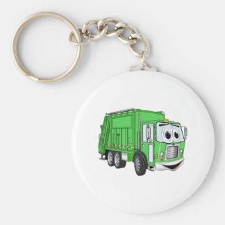 Bright Green Smiling Garbage Truck Cartoon Keychain
