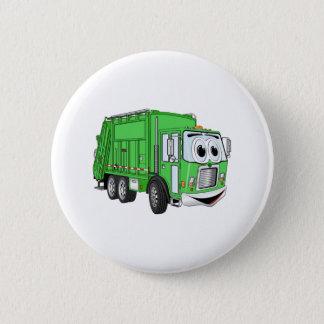 Bright Green Smiling Garbage Truck Cartoon Pinback Button