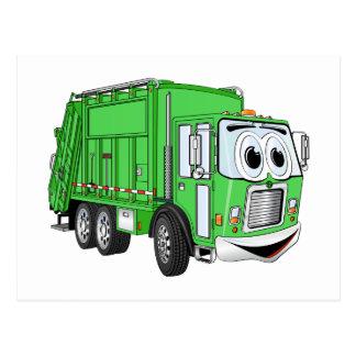 Bright Green Smiling Garbage Truck Cartoon Postcard