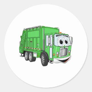 Bright Green Smiling Garbage Truck Cartoon Classic Round Sticker