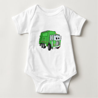 Bright Green Smiling Garbage Truck Cartoon Tshirts