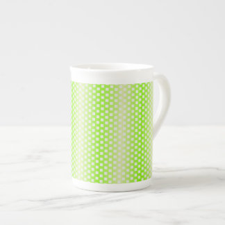 Bright green square pattern bone china mugs