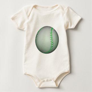 Bright Green Stitches Baseball Baby Bodysuit