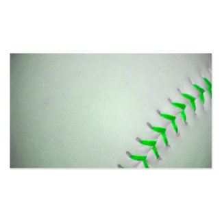 Bright Green Stitches Baseball Double-Sided Standard Business Cards (Pack Of 100)