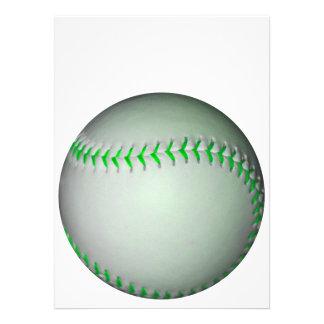 Bright Green Stitches Baseball Personalized Invite