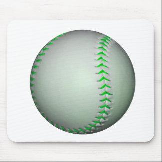 Bright Green Stitches Baseball Mouse Pad