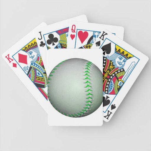Bright Green Stitches Baseball Bicycle Poker Cards