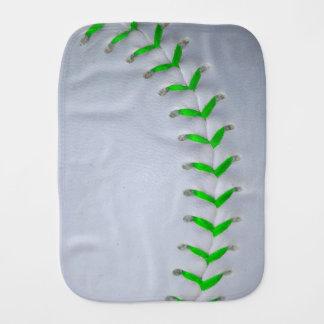 Bright Green Stitches Baseball / Softball Burp Cloth