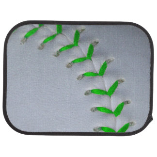 Bright Green Stitches Baseball / Softball Car Mat
