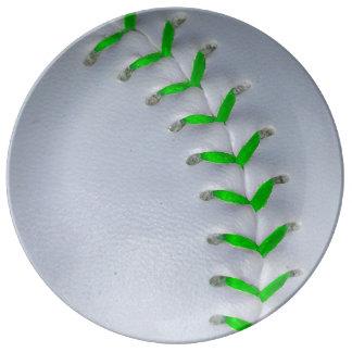 Bright Green Stitches Baseball / Softball Porcelain Plate