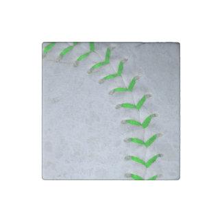 Bright Green Stitches Baseball / Softball Stone Magnet