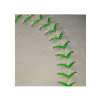 Bright Green Stitches Baseball / Softball Wood Wall Art