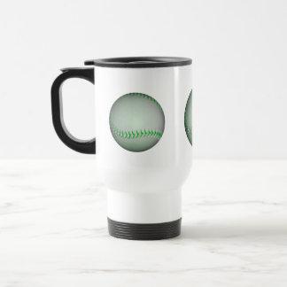 Bright Green Stitches Baseball Travel Mug