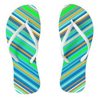 Bright Green Stripes Flip Flops