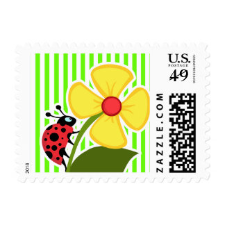 Bright Green Stripes; Ladybug Postage