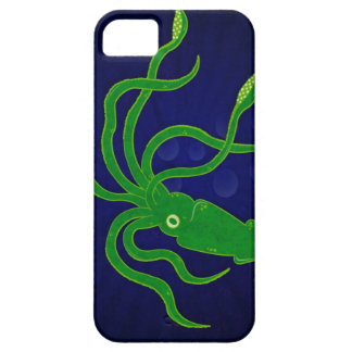 Bright green textured squid in a blue ocean iPhone SE/5/5s case