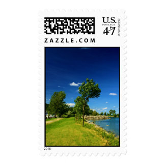 Bright Green Trees by the Lake Stamp