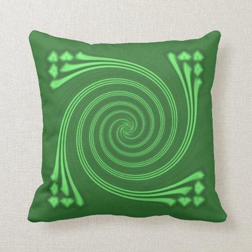 Bright Green Whirligig Pillow