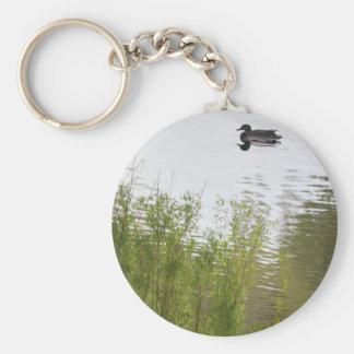 Bright green willow tree and Mallard duck Basic Round Button Keychain