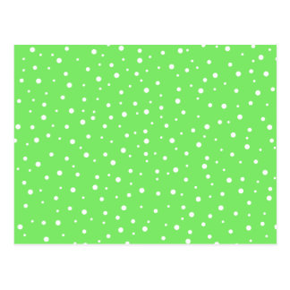 Bright Green with White Dots Pattern Postcard