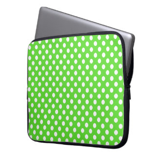 Bright Green With White Polka-Dots Laptop Sleeve
