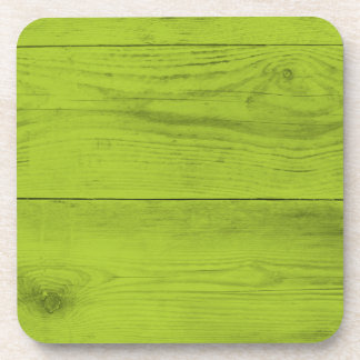 Bright green wood structure as a background textur drink coaster