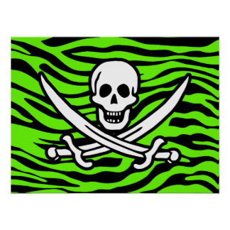 Bright Green Zebra Animal Print Pirate