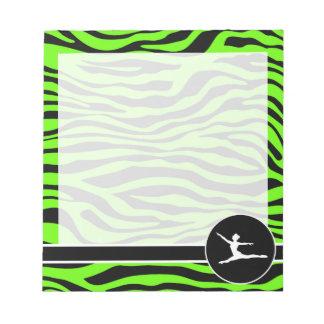 Bright Green Zebra Stripes; Ballet Note Pad