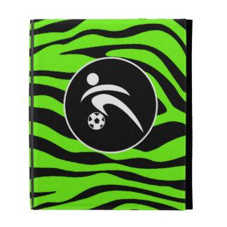 Bright Green Zebra Stripes; Soccer iPad Case