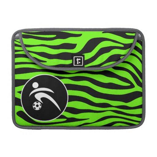 Bright Green Zebra Stripes; Soccer Sleeve For MacBook Pro