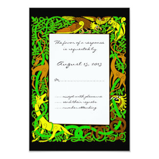Bright Greens Celtic Animals Design Wedding RSVP Card