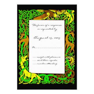 Bright Greens Celtic Animals Design Wedding RSVP Invites