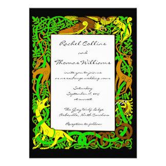 Bright Greens Celtic Animals Wedding Invitation