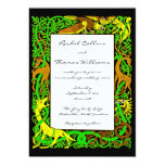 Bright Greens Celtic Animals Wedding Invitation