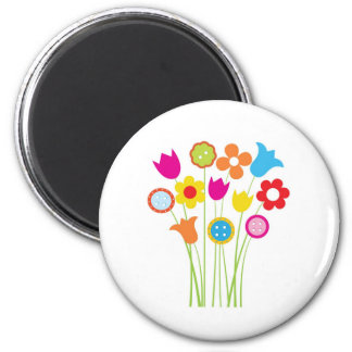 Bright greetings card with flowers and buttons 2 inch round magnet