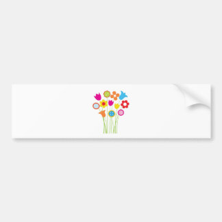 Bright greetings card with flowers and buttons bumper sticker