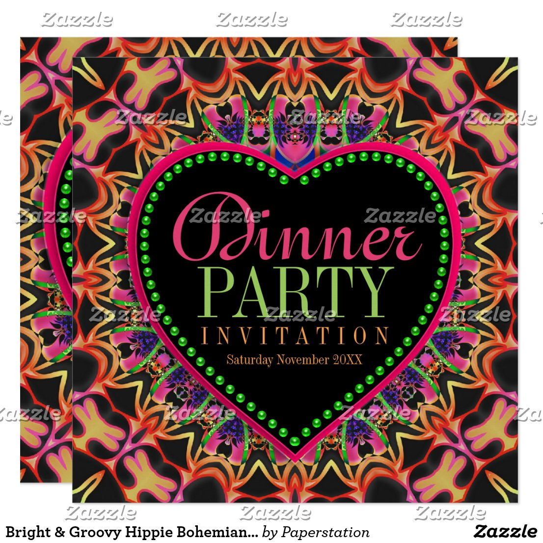 Bright & Groovy Hippie Bohemian Dinner Party Card by Paperstation