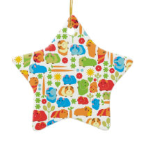 Bright Guinea Pig Patch Ceramic Ornament