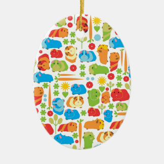 Bright Guinea Pig Patch Double-Sided Oval Ceramic Christmas Ornament