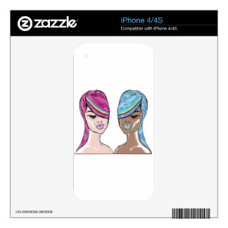 Bright Hair Model Sketch Decal For iPhone 4