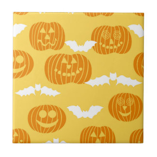 Bright Halloween Pumpkin & Bat Design Ceramic Tile