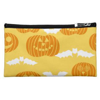 Bright Halloween Pumpkin & Bat Design Makeup Bag