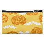 Bright Halloween Pumpkin & Bat Design Makeup Bags