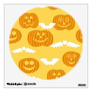 Bright Halloween Pumpkin & Bat Design Wall Decal