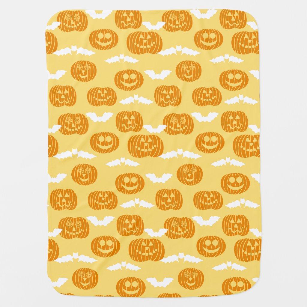 Bright Halloween Pumpkin & Bat Design Baby Blankets